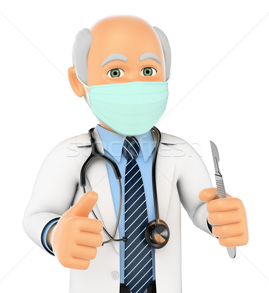 3D Surgeon with mask and scalpel Stock photo © texelart