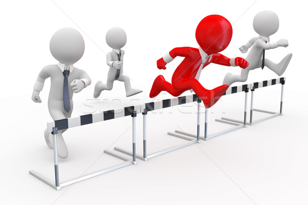 Businessmen in a hurdle race with the leader at the head Stock photo © texelart