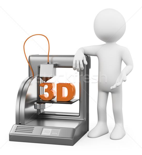3D white people. 3D Printer fused deposition Stock photo © texelart
