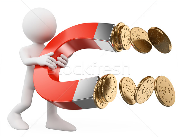 3D white people. Man with a magnet attracting money Stock photo © texelart