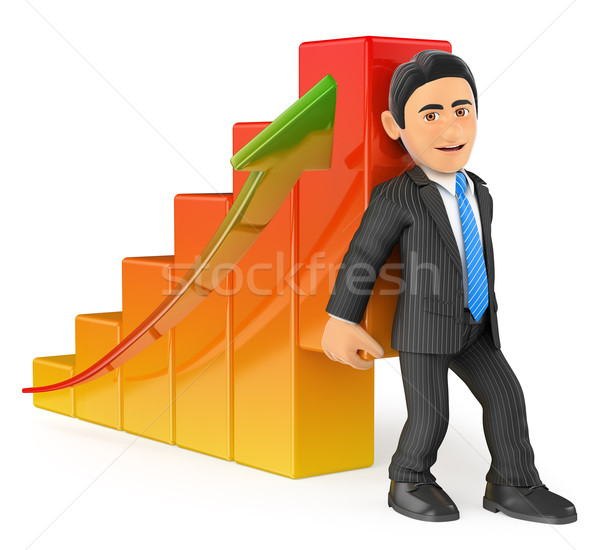 3D Businessman lifting up the economy bar graph Stock photo © texelart