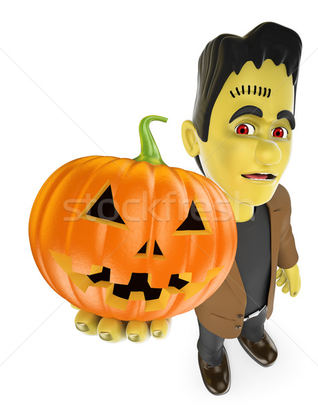 3D Funny monster. Frankenstein with a big pumpkin. Halloween Stock photo © texelart