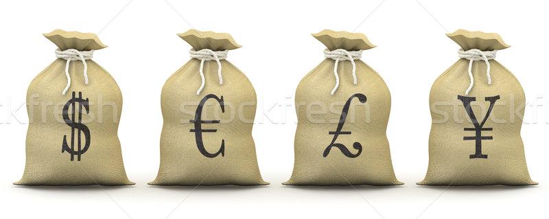 Bags of money with symbols of dollar, euro, pound and yen Stock photo © texelart