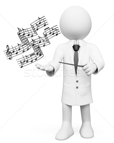 3D white people. Music teacher Stock photo © texelart
