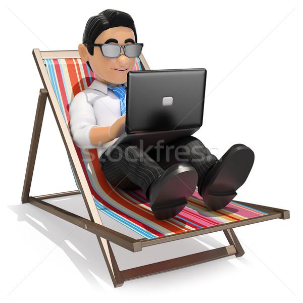 Сток-фото: 3D · бизнесмен · рабочих · пляж · ноутбука · деловые · люди