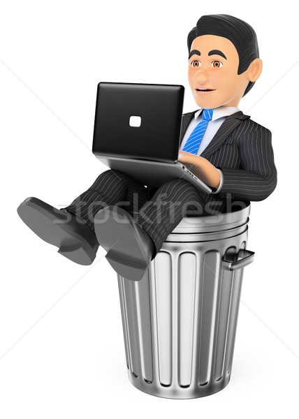 3D Businessman working with a laptop in a dustbin. Dead end job Stock photo © texelart