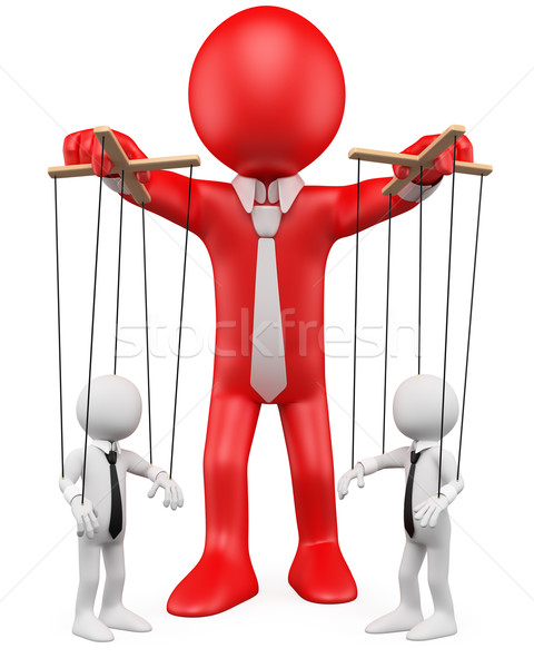 3D businessman handling their employees like marionettes Stock photo © texelart
