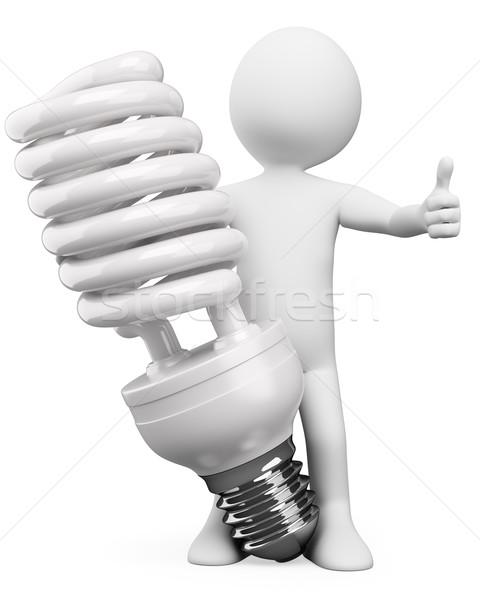 Photo stock: 3D · blancs · énergie · ampoule · blanche · personne