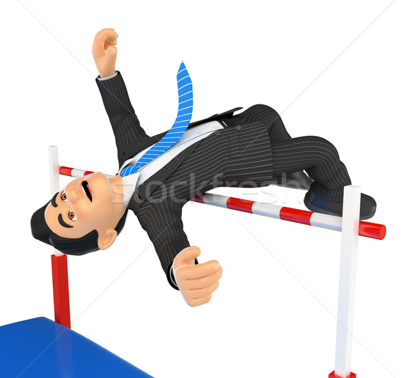 3D Businessman competing in high jump. Overcoming Stock photo © texelart