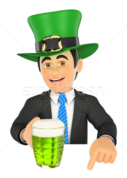 3D Businessman pointing down with Saint Patrick day hat and a be Stock photo © texelart