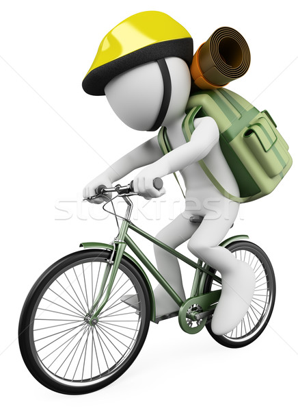3D white people. Hiker biker Stock photo © texelart