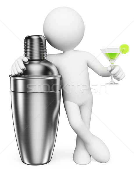 3D blancs homme shaker cocktail isolé Photo stock © texelart
