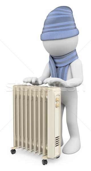 3D i bianchi uomo up radiatore lana Foto d'archivio © texelart