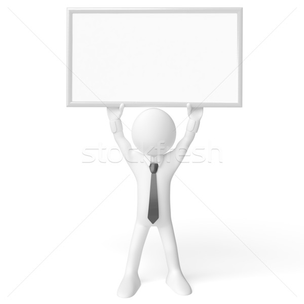 3d man blanche affiche rendu élevé résolution Photo stock © texelart