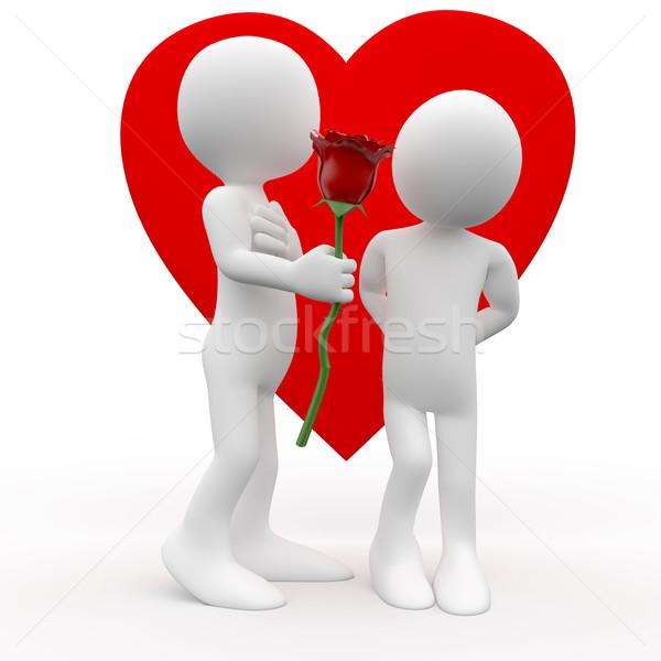 Hombre mujer aumentó signo amor prestados Foto stock © texelart
