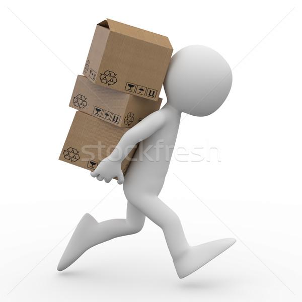 Photo stock: Homme · courir · plusieurs · cases · Retour · rendu