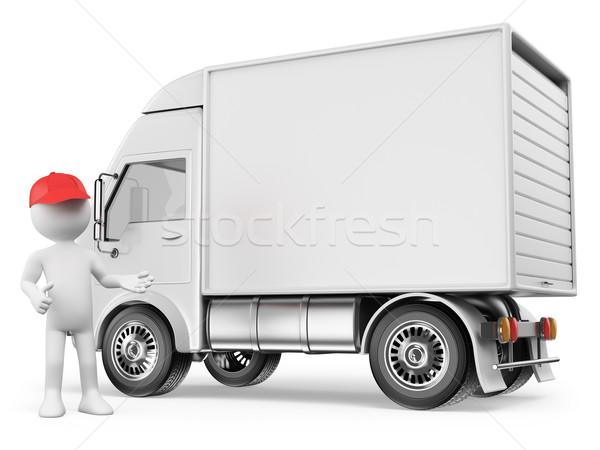 3D blancs blanche camion de livraison prêt coutume Photo stock © texelart