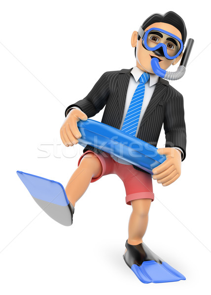3D Businessman thinking in holidays with diving goggles fins and Stock photo © texelart