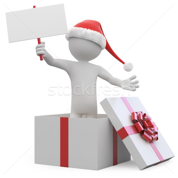 Férfi mikulás kalap üres kártya ajándék doboz renderelt Stock fotó © texelart