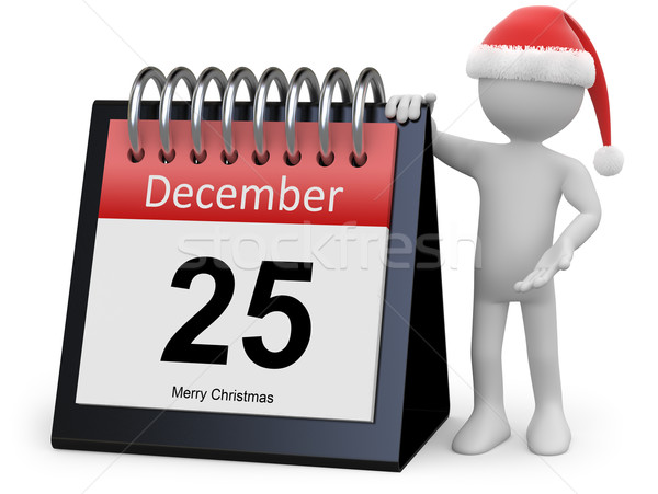 Man with Santa hat leaning on a huge calendar Stock photo © texelart