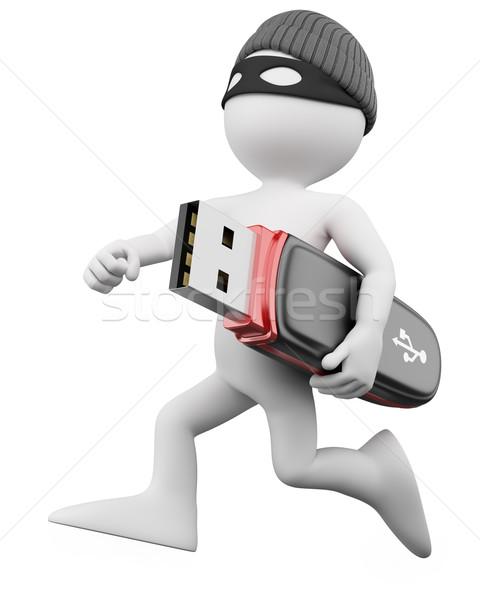 3D 泥棒 ハッカー レンダリング 高い ストックフォト © texelart
