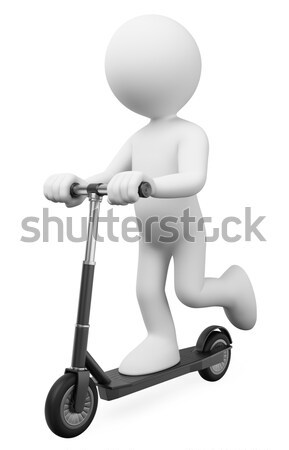 3D white people. Man doing spinning on a bike Stock photo © texelart