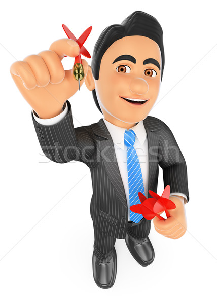 Stock photo: 3D Businessman aiming a dart to reach the target