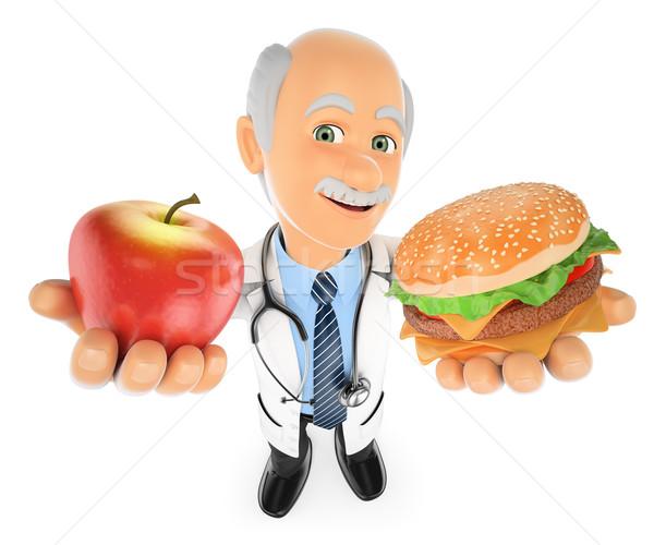 3D врач яблоко гамбургер медицинской Сток-фото © texelart