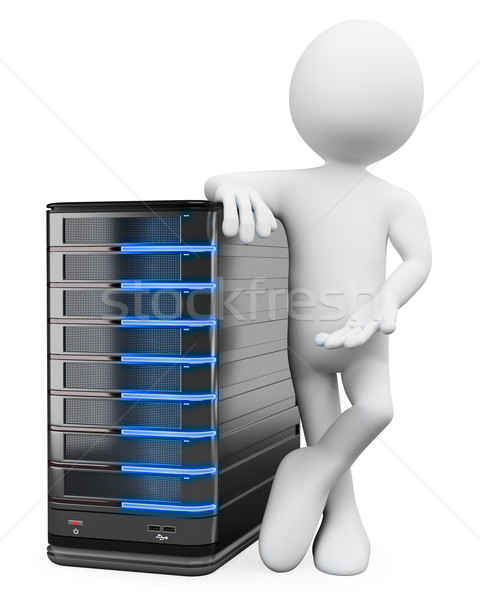 3D white people. System administrator with a server Stock photo © texelart