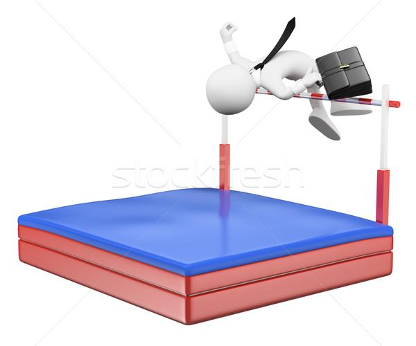 3D fehér emberek üzletember versenyző magasugrás izolált Stock fotó © texelart