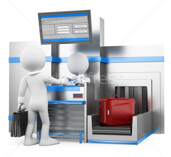 Stock photo: 3D white people. Businessman checking baggage in airport