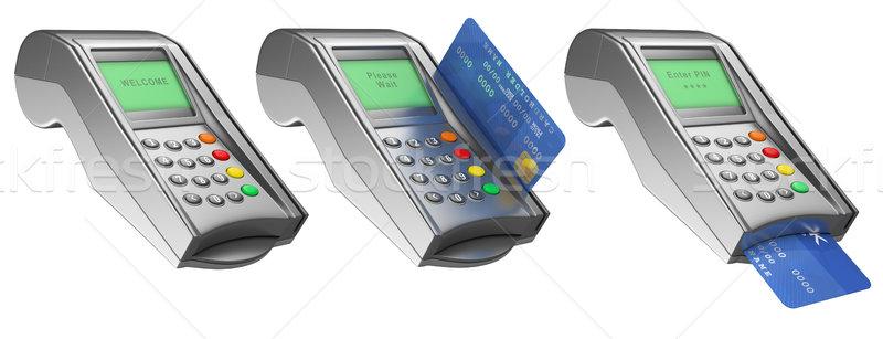 Photo stock: 3D · banque · carte · de · crédit · isolé · blanche · affaires