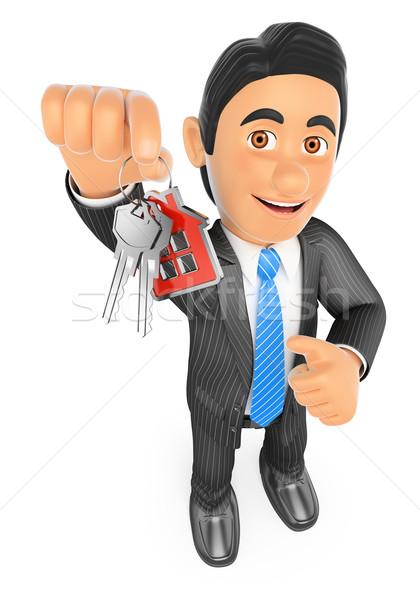 3D Estate agent handing over the keys of a new house Stock photo © texelart
