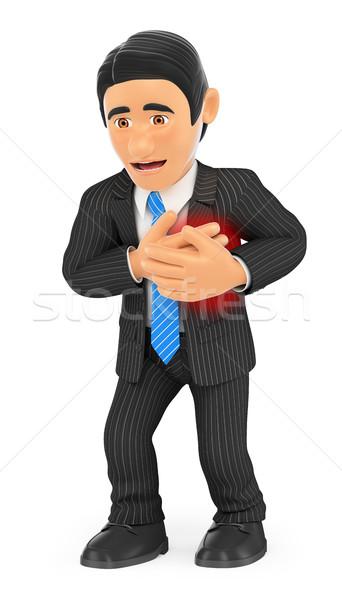 3D imprenditore attacco di cuore uomini d'affari illustrazione isolato Foto d'archivio © texelart