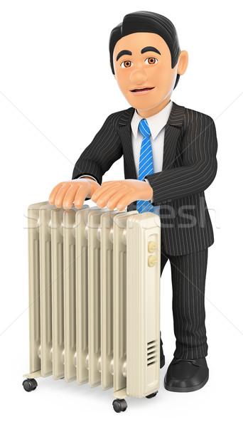 3D zakenman draagbaar radiator zakenlieden illustratie Stockfoto © texelart