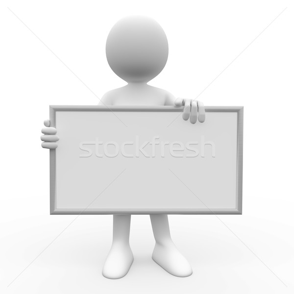Stock photo: 3d human with white poster to fill it with whatever you like