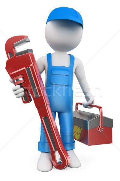 Photo stock: 3D · blancs · plombier · pipe · clé · boîte · à · outils