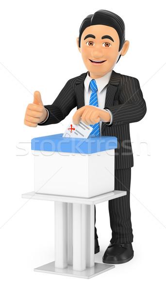 Foto stock: 3D · empresário · votação · cédula · caixa · pessoas · de · negócios