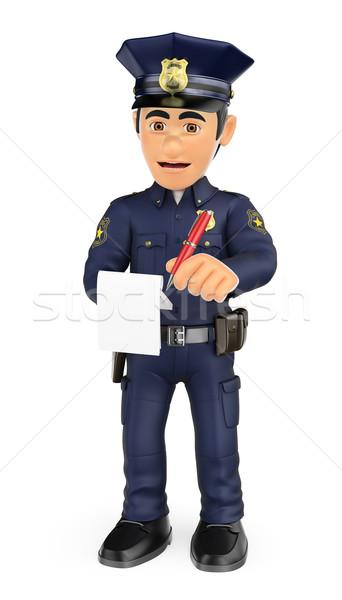 3D Policeman imposing a traffic ticket Stock photo © texelart