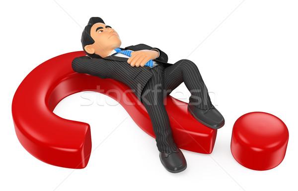 Stockfoto: 3D · zakenman · nadenkend · vraagteken · zakenlieden · illustratie