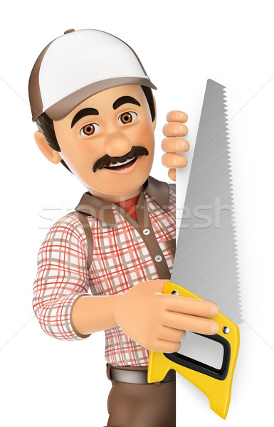3D Carpenter with saw pointing aside. Blank space Stock photo © texelart