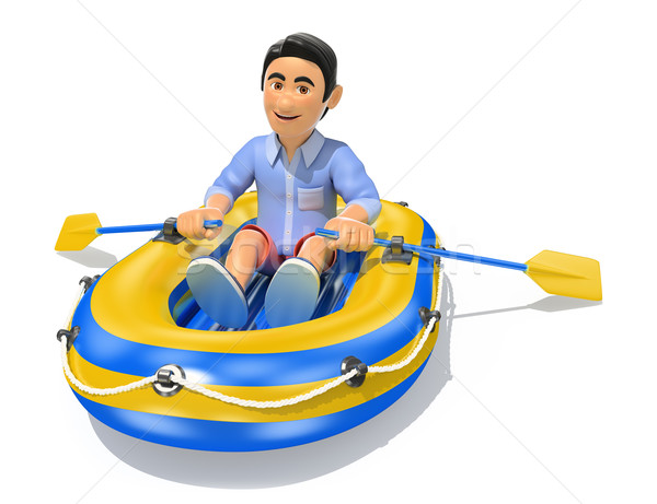 3D Young man in shorts paddling a inflatable boat Stock photo © texelart