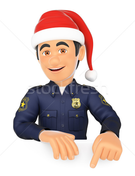 3D Policeman pointing down with a Santa Claus hat. Blank space Stock photo © texelart