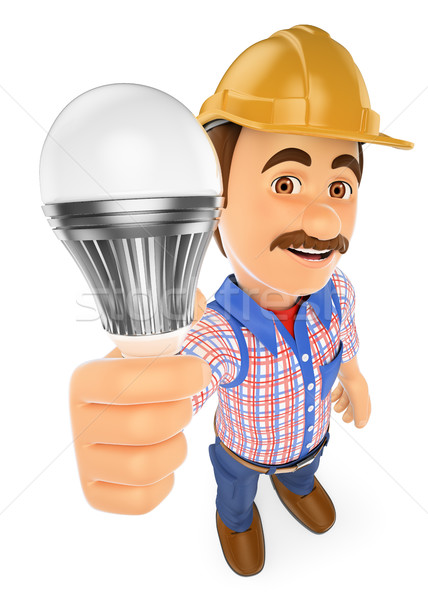3D Electrician with a led light bulb Stock photo © texelart