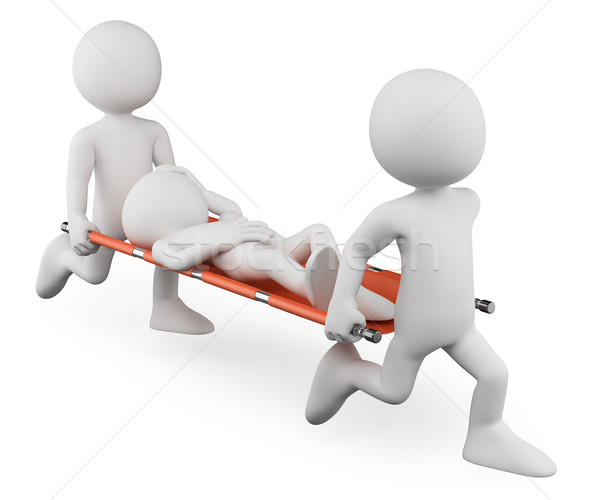 3D white people. Doctors carrying an injured on a stretcher Stock photo © texelart