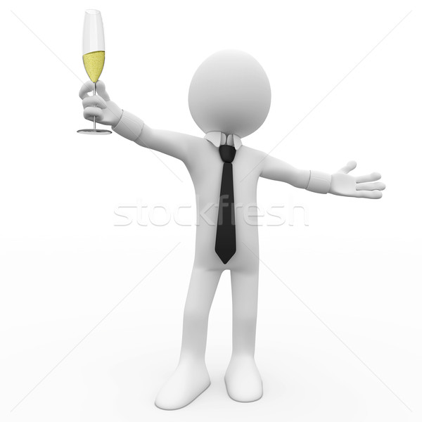 Man making a toast with a glass of champagne Stock photo © texelart