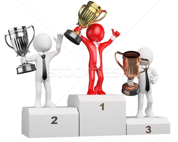 3D biznesmen biali ludzie zwycięzca podium biały Zdjęcia stock © texelart