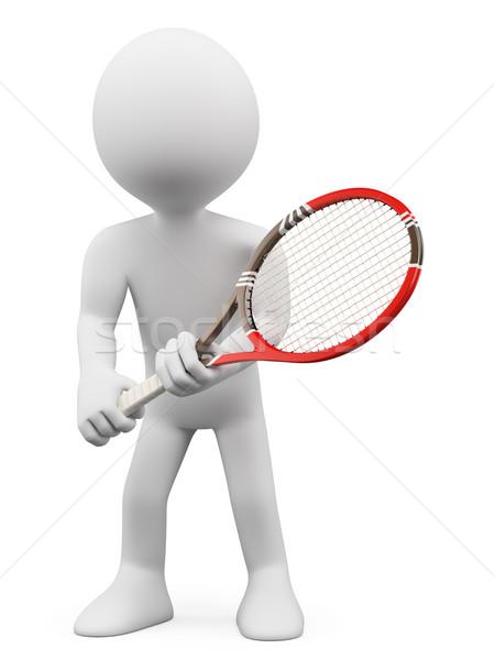 3D white people. Tennis player to return Stock photo © texelart