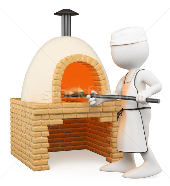 3D white people. Baker making bread in the oven Stock photo © texelart