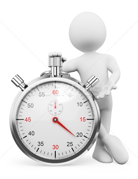3D white people. Man with a stopwatch Stock photo © texelart